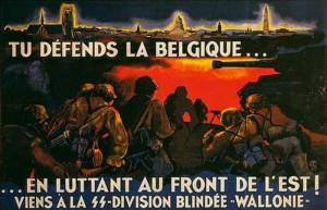 Nazistowski plakat propagandowy zachęcający Walonów do wstępowania w szeregi Waffen SS. Liczba Walonów w Waffen SS pokazuje, że przyniósł on zamierzony skutek