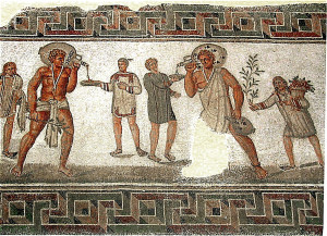 Rzymscy niewolnicy usługujący swym panom na mozaice z II w. n.e
