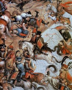 """Husarze z pocz. XVI wieku w bitwie (Fragment obrazu """"Bitwa pod Orszą"""")"""