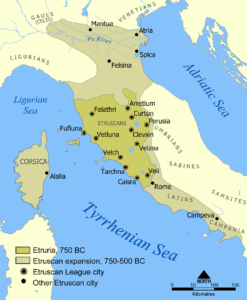 Zasięg wpływów etruskich
