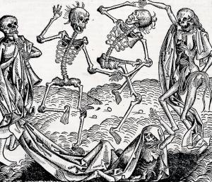 """Ze względu na dziesiątkujące ludzi epidemie, motyw """"tańca śmierci"""" był niezwykle popularny w sztuce średniowiecza"""