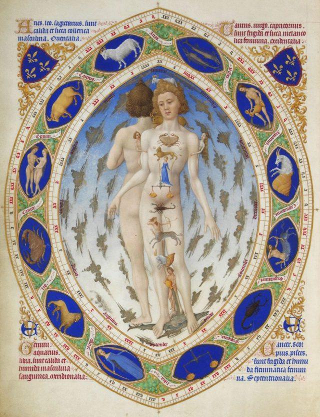 Człowiek zodiakalny, miniatura braci Limbourg z Bardzo bogatych godzinek księcia de Berry