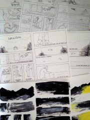 All the stages; pencils, inks and paints!