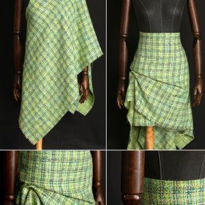 Haute Couture Fabric green Tweed Wool Fabric/Tweed Cotton Polyester Alta Moda/Fashion week fabric/Various Colours Available Check Our Shop