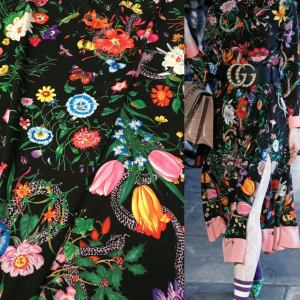 Gucci Silk Satin Stretch Fabric #1 Dragonfly and lizard Digital Painted Fabric/Haute Couture Silk Satin Polyester Rural Flowers Print Silk