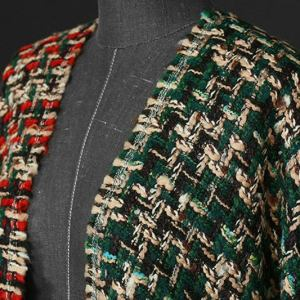 Haute Couture Fabric Red and Green Tweed Fabric/Gold Yarn Tweed Alta Moda/Fashion week fabric/Various Colours Available Check Listing please