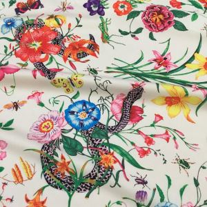 Gucci Silk Satin Stretch Fabric #2 Dragonfly and lizard Digital Painted Fabric/Haute Couture Silk Satin Polyester Rural Flowers Print Silk