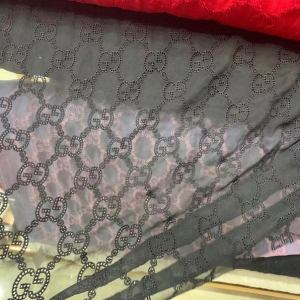 New Gucci Lace #2 on cotton Fabric SilK Embroidery GG logo,Amazing Fabric! VERY RARE Limited by order Only! Stretch,Colours Available