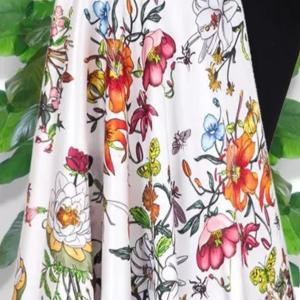 New Collection Luxury Gucci Silk Inkjet Stretch Fabric #1/Haute Couture Silk Rural Flowers Butterflies Insects Pattern Silk/Dense 19momme
