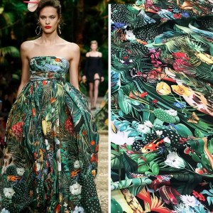 Dolce Gabbana Jungle Print fabric Polyester/Italian Designer Fabrics/DG 2020collection fabric/Italian Designer Fabrics