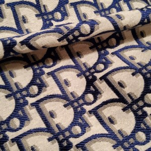 Dior Jacquard Fabric New Collection 3D/Light Grey Base with Bigger Navy Logo wicker like Logo/Designer Fabric Fashion week colour #8