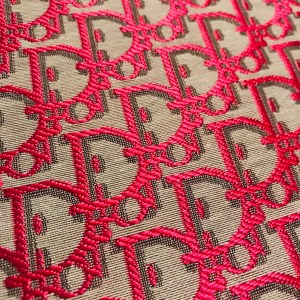 Dior Jacquard Fabric New Collection 3D/Light Grey Base with Raspberry wicker like Silky Logo/Designer Fabric Fashion week colour #4