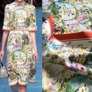 Dolce Gabbana Fabric Sicily Show Jacquard /Capri show DG fabric Roman print Italian Designer Fabric