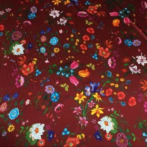 Gucci silk fabric/New Collection Gucci floral design tulips,lilies,narcissus/Wild flowers pattern Italian Designer Fabric