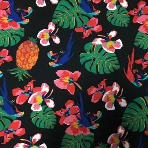 Dolce Gabbana Silk fabric Banana leaf parrot print and pineapple design Fashion week Fabric