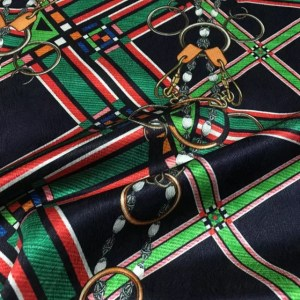 Hermes Silk fabric stripes and rings pattern /New Collection chain pattern fabric/Catwalk fabric digital inkjet technique beautiful silk