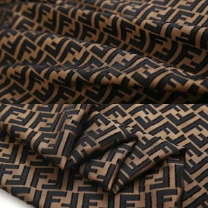 Fendi Silk Fabric/New Collection Silky Brocade with Applique Logo 3D Fendi Fabric
