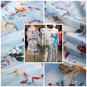 Dolce Gabbana silk chiffon fabric cherubs pattern/DG angel print chiffon/renaissance design Italian Designer Fabric