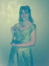 Rebecca Lenckiewicz holding the Oscar for best foreign film: Ida