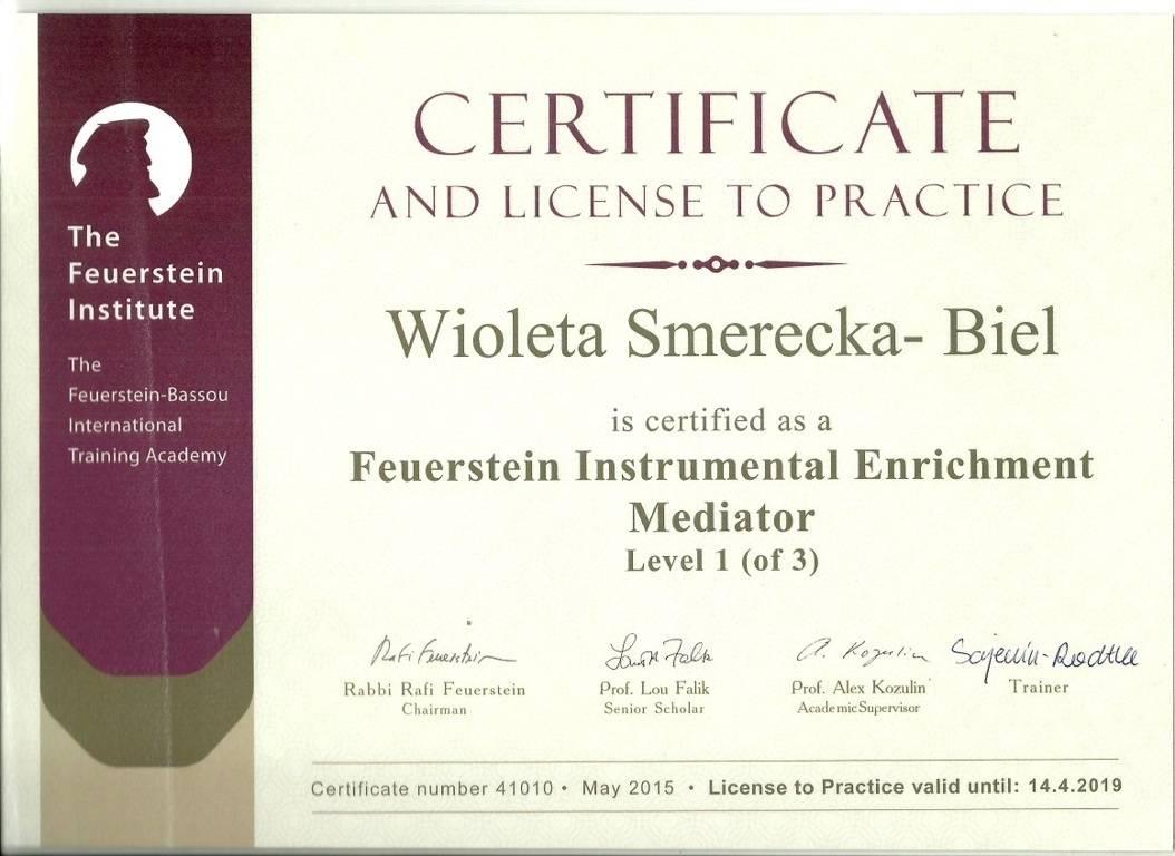 Certyfikat dla terapeuty IE