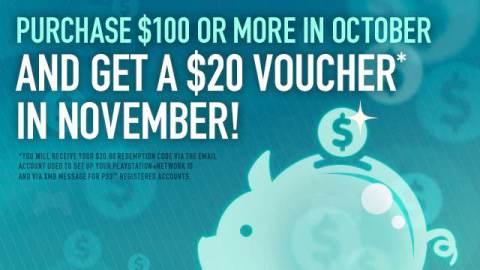 Spend $100 on PlayStation Network, Get $20 Voucher