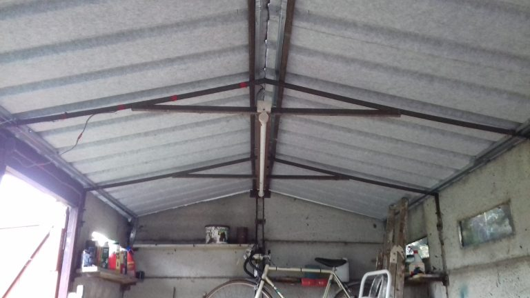 Garage re roof inside after scaled - Garage Roof Replacement