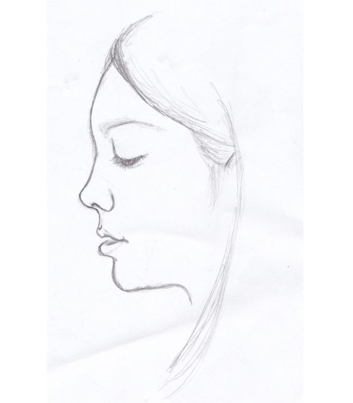 Profile Sketch of Isabella, pencil on paper, 2014