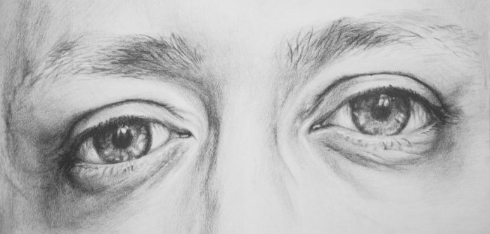 Eyes No. 1, pencil drawing on paper, 56x26 cm