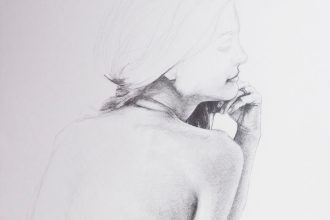 back of a woman figure drawing study pencil on paper