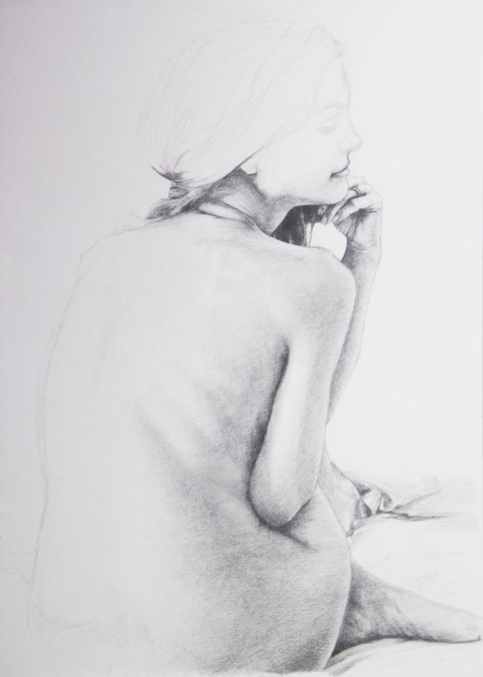 Back of a Woman, Figure Drawing Study, March 2015, Zoersel, Belgium, pencil on paper, 59.4x42 cm