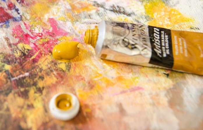 yellow ochre oil paint on the palette