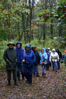 RPCVs enjoy a hike in the rain