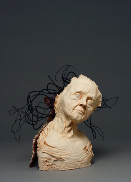 Lonely Girl Room 322, Connie McBride, clay and wire.