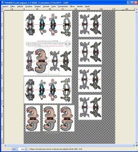 Página preparada com várias cópias das miniaturas