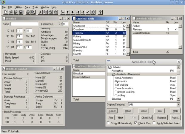Programa Gurps Character Builder