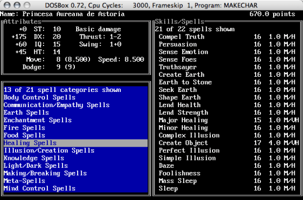 Programa Makechar Tela de Magias