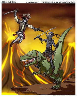 Piratas robOs contra ninjas montados em dinossauros? Só Gurps te proporciona isso!