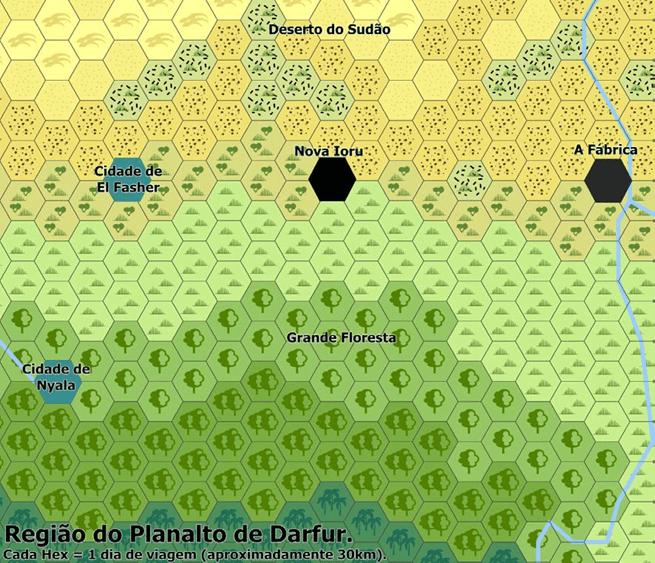 Mapa do Planalto de Darfur - Afro-Rangers