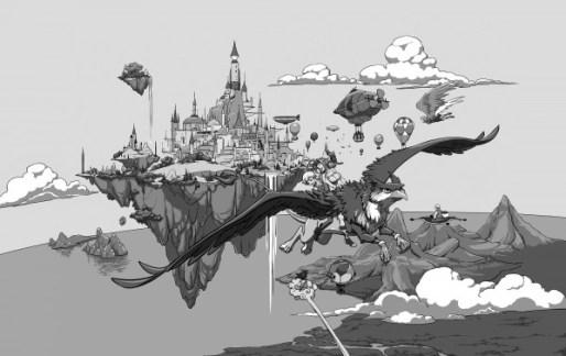 Uma cidade voadora ao fundo, com zepelins e balões em volta. Em primeiro plano um grifo montado por uma elfa e uma humana.