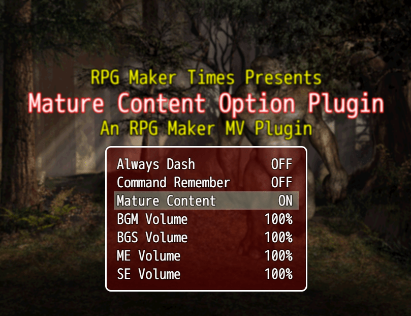 ֎ Mature Content Option Plugin – RPG Maker MV Plugins