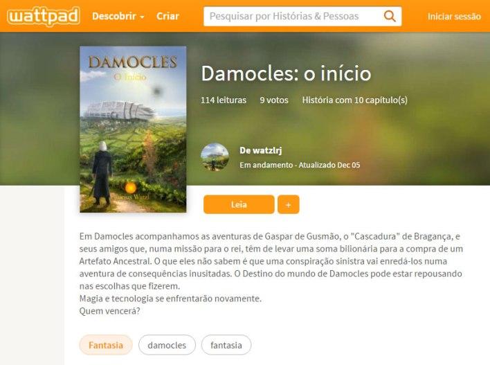 Imagem do livro Damocles O início no site do Wattpad