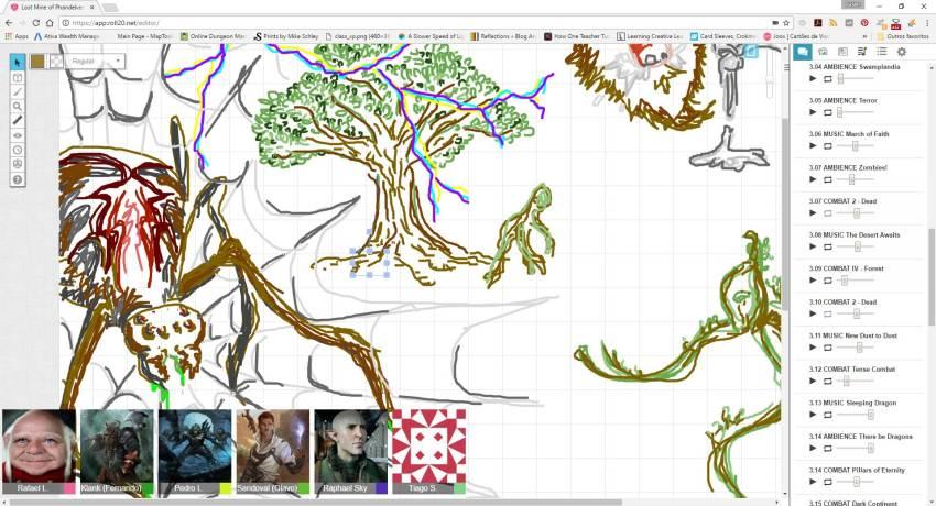 Ilustração de uma Aranha Gigante e um monstrinho planta - Print da ferramenta Roll20 da aventura do Tarrasque na Bota - Aventura A Mina perdida de Phandelver