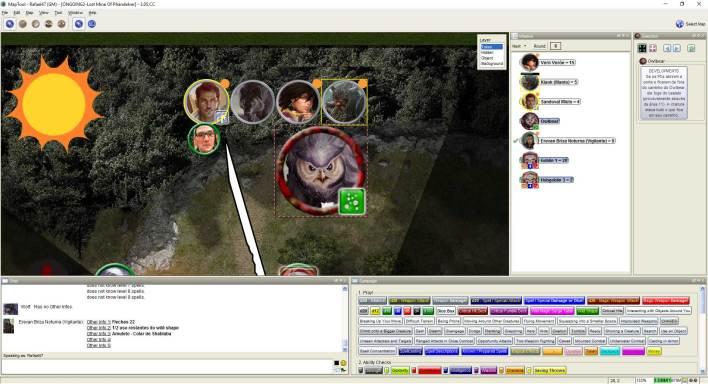 Imagem do Maptool - Urso Coruja avançando nos aventureiros