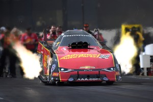 Former Funny Car pilot Courtney Force racing in Funny Car at an NHRA event in 2018