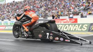 Pro Stock Motorcycle rider Angelle Sampey racing at the 50th annual Amalie Motor Oil NHRA Gatornationals