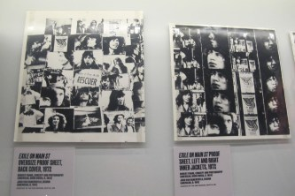 """Oversized cover proofs for the """"Exile On Main St."""" double-LP cover, 1972."""