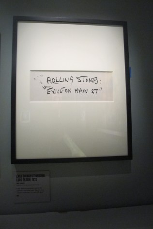 """Mick jagger's hand-written title for """"Exile"""" dashed off in black marker, as per Robert Frank's suggestion"""
