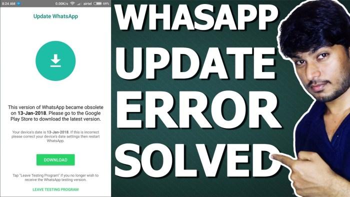 whatsapp error fix