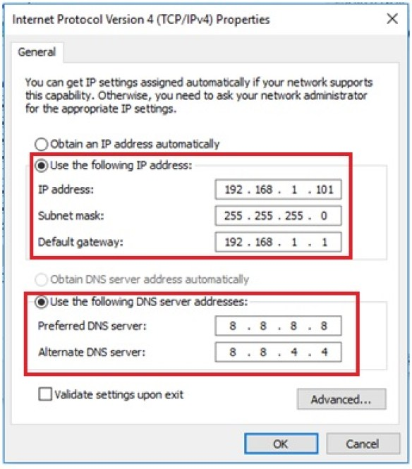 IP and DNS setting