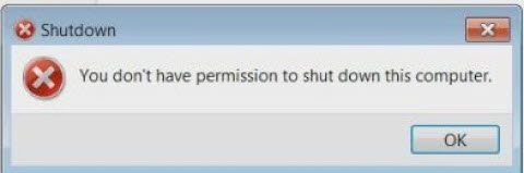 You don't have permission to shut down this computer - FIX